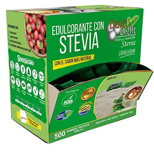 EDULCORANTE STEVIA DULCILIGHT 500 Sobres, Natural granulado