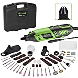 GINOUR Rotary Tool with MultiPro Keyless Chuck and Flex Shaft - 114pcs Accessories, 7 Variable Speeds, 4 Attachments, Rotary Tools Kit for Grinding, Cutting, Wood Carving, Sanding, and Engraving