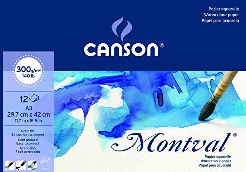 Bloc Encolado, A3, 12 Hojas, Canson Montval, Grano Fino 300g, Blanco