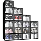 Shoe Storage Boxes - Mupera 18 Pack Black Softtop Stackable Clear Plastic Shoe Storage Containers Bins Foldable Sneaker Storage Organizer, Fit for Size 11