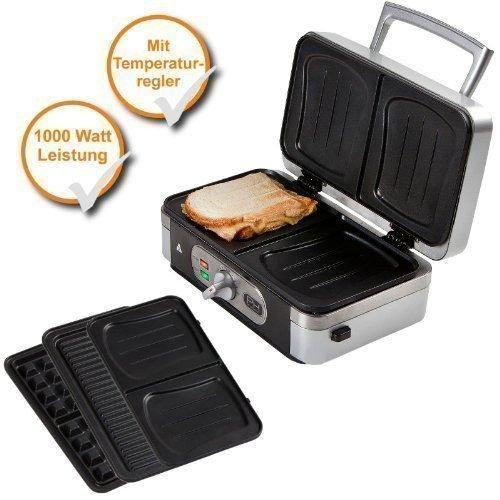 Profi 3in1 Waffeleisen + Sandwich-Maker + Paninigrill mit Wechselplatten, starke 1000Watt