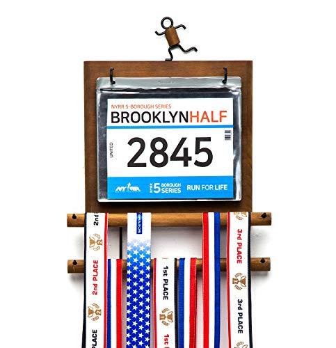 J JACKCUBE DESIGN - Marathon Medal Display Hanger Race Bibs Holder for Runners Wood wall mounted Rack Gymnastics Awards Olympic Triathlete Gifts - MK503A (Wood)