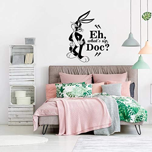 Bugs Bunny What's Up Doc Quote Looney Tunes Cartoon Wall Sticker Art Decal for Girls Boys Room Bedroom Nursery Kindergarten House Fun Home Decor Stickers Wall Art Vinyl Decoration Size (30x27 inch)