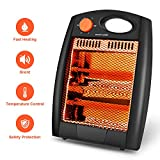 Portable Infrared Heater –Protable Space Heater, Quartz Infrared Heater with 2 Modes Settings, Noiseless Radiant Infrared Heater for home, Warm up Immediately, Overheat & Tip-Over Protection