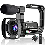 Video Camera 2.7K Camcorder Ultra HD 36MP Vlogging Camera for YouTube IR Night Vision 3.0' LCD Touch...