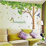 BLOUR Tamaño Grande 310 * 204 cm Sala de Estar/Fondo de TV Pegatinas de Bricolaje Extra Grandes Hojas Verdes Frescas Árbol Pájaros Pegatinas de Pared Calcomanía Mural