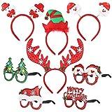 Toyvian Serre-tête de Noël et Les Verres fixés pour Les Enfants et Les Adultes de Noël Photo Accessoires de fête