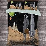 Toopeek Astronaut Paquete de 3 (1 funda de edredón y 2 fundas de almohada) Business Woman in Space Maletín Comprar y vender en Alien Planet Poliéster (Queen) Negro Marrón Multicolor