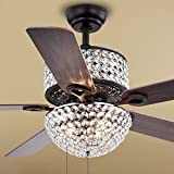 Warehouse of Tiffany CFL-8170BL Laure Crystal 6-Light 52-inch Ceiling Fan, 52'W x 52'L x 20'H, Multicolor