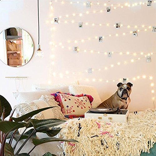 66Ft 200leds Waterproof Copper Wire Starry String Fairy Lights USB Powered Hanging for Bedroom Indoor Outdoor Warm White Ambiance Lighting for Patio Wedding Decor (1, Silver wire-Warm white-66ft)