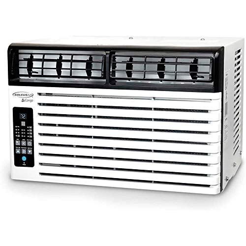 SoleusAir Energy Star 6,400 BTU 115V Window-Mounted Air Conditioner with LCD Remote Control, White/Black