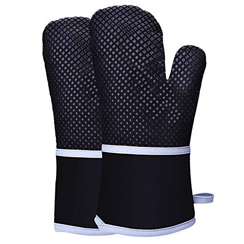 HelloCreate guanti da forno in silicone resistente al calore, guanti da forno antiscivolo con fodera...