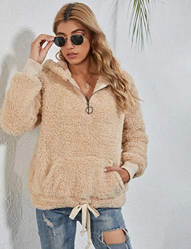 BMJL Women's Sherpa Pullover Fuzzy Sweater Zip Fleece Sweatshirts Hooded Cute Hoodies Outwear