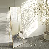 AUFHELLEN Miroir sur Pied 140x40cm HD Miroir avec Cadre en Métal avec...