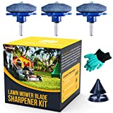 Grizzly Lawn Gear Lawn Mower Blade Sharpener Drill Attachment Kit Includes Free Blade Balancer Gloves for Power and Hand Drill Mower Blade Sharpener Lawnmower Blade Sharpener