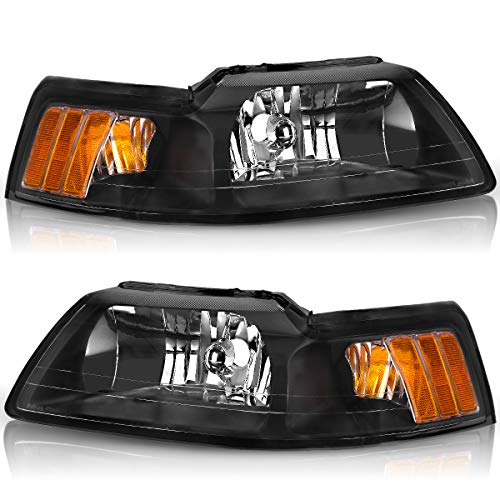 Compatible with 1999-2004 Ford Mustang Headlights OEDRO Black Housing with Amber Reflector Headlight/Lamp Set Left+Right, 2-Yr Warranty