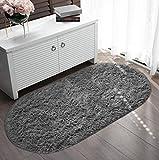 Veken Fluffy Shag Area Rugs for Living Room Bedroom Home Decor Nursery, Machine Washable Indoor Carpets for Girls Boys Kids Room 2.6x5.3 Feet, Grey