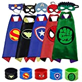 M/A KAISILIN Fun Cool Cartoon Satin Capes for Kids 3-10 Year Old Boy Gifts, Boys Dress up Costumes Party Supplies (5pcs)