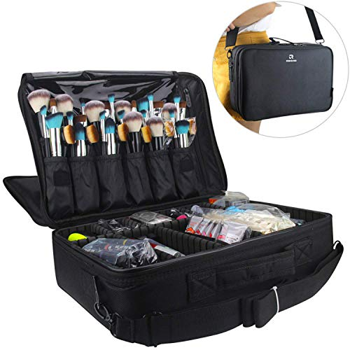 Relavel Professional Makeup Train Case Cosmetic Bag Brush Organizer and Storage 16.5' Travel Make Up Artist Box 3 Layer Large Capacity with Adjustable Strap (Black)