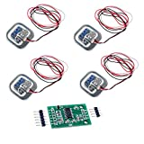 4pcs 50kg Load Cell Half-Bridge Human Body Scale Weight Weighing Sensor + 1pc HX711 Amplifier AD...