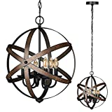 DEWENWILS 6-Light Farmhouse Chandelier, Rustic Metal Pendant Light Fixtures, Globe Ceiling Light with ORB Finish, Perfect for Kitchen Island, Dining Room, Foyer, Entryway