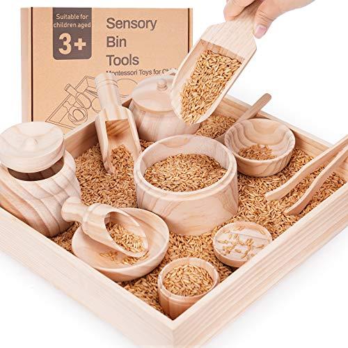 Crisschirs Sensory Bin Tools with Wooden Box, Montessori...