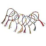 Nuolux 9pcs Hippie Style Colorful Knurled Braided Thread Wrist Ankle Bracelets (Random Color)