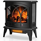 TURBRO Suburbs TS23-C Electric Fireplace Infrared Heater with Curved Door- Freestanding Fireplace Stove with Adjustable Flame Effects, Overheating Protection, Timer, Remote Control - 23' 1400W Black