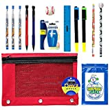 Kids Sports Themed Stationary Accessories-Sports Pencils, Erasers & More - Unique Back to School Supplies, Stocking Stuffers, Easter Basket Fillers (Red Pouch-Baseball)