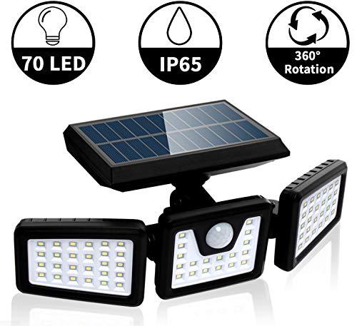 FLOWood Solarlampen für außen mit Bewegungsmelder Solarleuchten für außen LED Strahler Außen LED Aussenleuchte Solar Außenwandleuchten 360 Drehbar 70 LED IP65 1 Stück