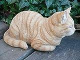 猫の置物 香箱座り(こうばこずわり)猫(茶トラ 12688Nキャット ガーデンオブジェ CAT 動物 オーナメント ネコ ガーデン 置物 マスコット