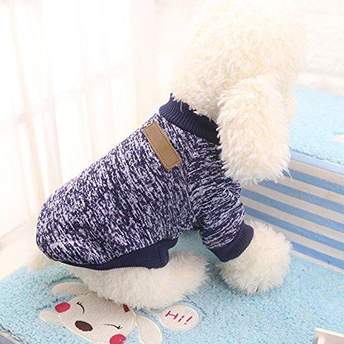 Haihuic Suéter del Invierno del Perro Mascota, Abrigo de algodón cálido para Clima frío, para Perros pequeños, medianos y Grandes, Talla XS-2XL - Azul Marino
