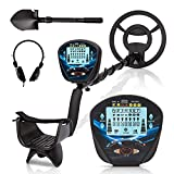 Psukhai Professional Metal Detector for Adults & Kids with Headphone, Waterproof 10' Search Coil, 41'-53' Adjustable Stem Pinpoint Disc & All Metal Mode High Accuracy Great Gift Idea for Men
