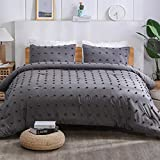 Paxrac Tufted Grey Queen Comforter Set (90x90 inches), 3 Pieces- 100% Soft Cotton Jacquard Lightweight Comforter with 2 Pillowcases, Chenille Dots All Season Down Alternative Comforter Set for Bedding