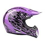 Typhoon Adult Women's Dirt Bike Helmet ATV Off Road ORV Motocross Helmet DOT Motorcycle Purple (XXL)
