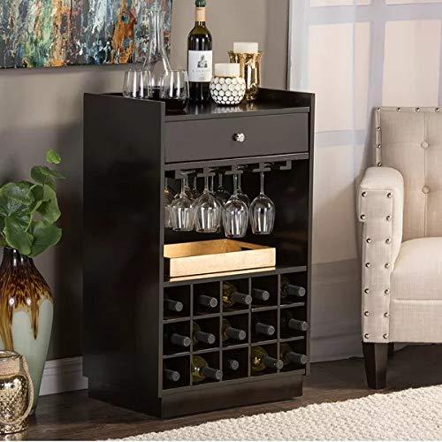 Ganpati Arts Sheesham Wood Wine Rack Display Unit with Single Drawer Black Finish