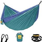 Wise Owl Outfitters Hammock Camping Double & Single with Tree Straps - USA Based Hammocks Brand Gear, Indoor Outdoor Backpacking Survival & Travel, Portable DO Gn/Blu