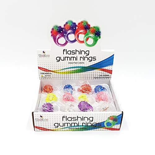 WeGlow – Flashing Gummi Light Up Rings – Easy on/Off...