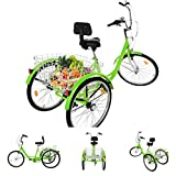 Adult Tricycle 7 Speed 24 Inch Trike Cruiser Bike Three-Wheeled Bicycles for Recreation, Shopping with Large Basket, Assembly Tool for Recreation, Shopping, Picnics Exercise Men's Women's Bike (Green)