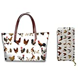 Hugding Juego de bolso y cartera para mujer, bonito diseño de animales, bolsa de compras con cartera a juego., color Beige, talla Talla única