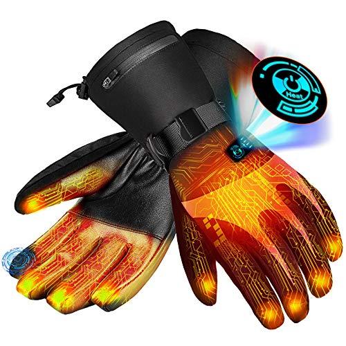 Guantes calefactables para Hombre y Mujer | Guantes calefactables | Batería de Iones de Litio Recargable | 5 Niveles de Temperatura y Pantalla táctil (L)