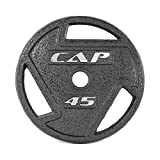 CAP Barbell 2-Inch Olympic Grip Plate, Various Sizes, Olympic Grip Plate, 45-Pounds
