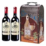 Maletín de vino con soporte para botellas, caja de vino vintage, caja de madera, botella de vino, caja de vino, soporte para bebidas, cofre de madera, champán, soporte para botellas,Botella doble