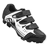 Hiland Indoor Cycling Shoes 2 Bolt Spin Mountain Bike Shoe for Women Men Spinning MTB Lock Pedal Bicycle Cleated Compatible with Shimano SPD Cleats Black White 44