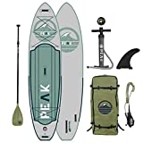 Peak Expedition Inflatable Stand Up Paddle Board — Durable Lightweight Touring SUP with Stable Wide Stance — 11' Long x 32' Wide x 6' Thick (Moss)