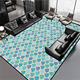 Teal Luxury Rug for Bedroom Dorm Home Girls Kids Colorful Water Droplets Rain Themed Image Natural World in Abstract Manner Aqua Teal Lavender Rug 78' by 60'