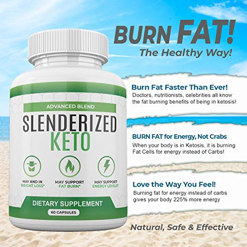 Slenderized Keto - Advanced Blend - Dietary Supplement for Weight Loss Fat Burn and Energy - 1 Month Supply 7