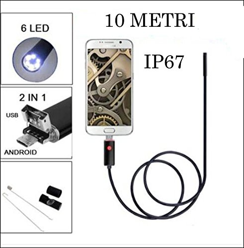 TELECAMERA ENDOSCOPICA 10MT. USB/MICRO USB 6 LED DIAMETRO 6MM