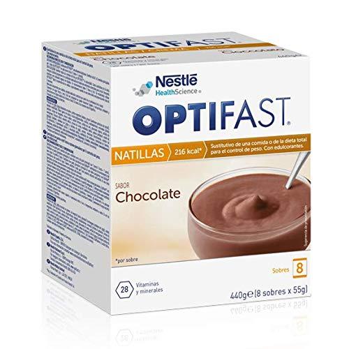 OPTIFAST Natillas Chocolate. Estuche de 8 sobres de 55g, sustitutivos de la comida para control de peso