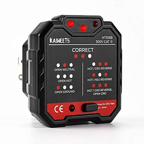Outlet Tester 48-250V, GFCI Tester CAT II 300V, Receptacle Tester 3 Prong Circuit Analyzer with 7 Visual Indications for Home & Professional Use